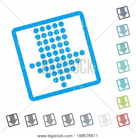 Dotted Arrow Down rubber watermark in some color versions.. Vector icon symbol inside rounded rectangle with grunge design and scratched texture. Stamp seal illustration, unclean sign.