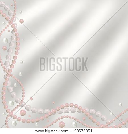 Abstract vector background with beautiful 3D shiny natural white and pink pearl garlands beads on silk fabric. Set for celebratory design Christmas decorations. wedding theme. Vector illustration.