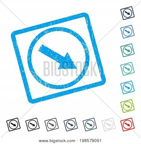 Down-Right Rounded Arrow rubber watermark in some color versions.. Vector pictogram symbol inside rounded rectangle with grunge design and dirty texture. Stamp seal illustration, unclean sticker.