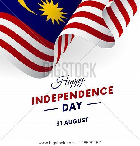 Malaysia Independence Day. 31 august. Waving flag. Vector illustration.