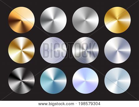 Radial conical metallic gradient set. Immitation of gold, bronze, silver, chrome, steel. Vector elements for your backround. Eps 10.