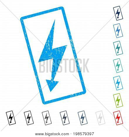 Electric Strike rubber watermark in some color versions.. Vector pictogram symbol inside rounded rectangle with grunge design and dirty texture. Stamp seal illustration, unclean emblem.
