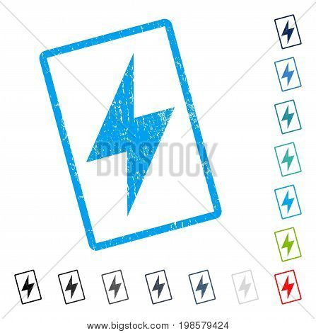 Electric Strike rubber watermark in some color versions.. Vector icon symbol inside rounded rectangle with grunge design and dirty texture. Stamp seal illustration, unclean emblem.