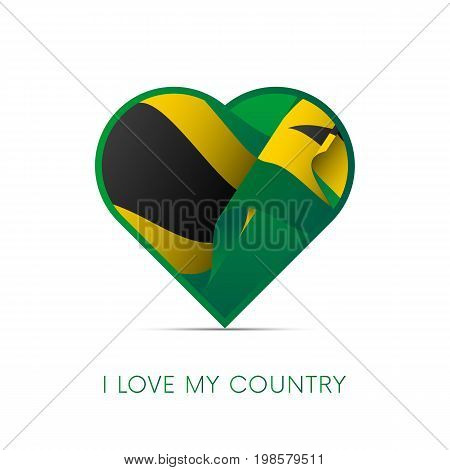 Jamaica flag in heart. I love my country. sign. Vector illustration.
