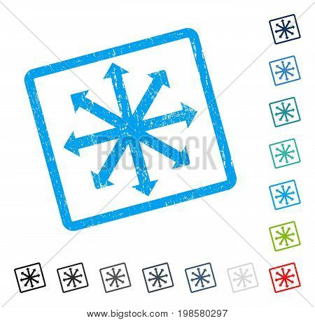 Expand Arrows rubber watermark in some color versions.. Vector icon symbol inside rounded rectangle with grunge design and dirty texture. Stamp seal illustration, unclean sticker.