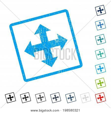 Expand Arrows rubber watermark in some color versions.. Vector pictogram symbol inside rounded rectangular frame with grunge design and unclean texture. Stamp seal illustration, unclean emblem.