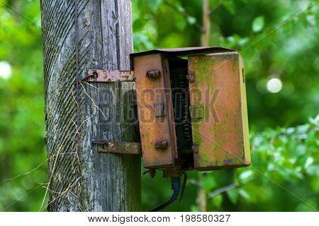 An old rusty electrical junction box on a wooden pole in the city park.