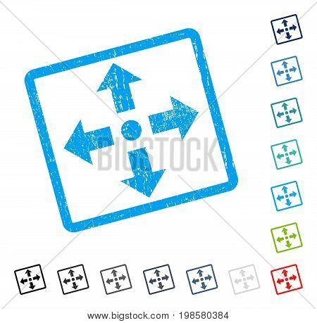Expand Arrows rubber watermark in some color versions.. Vector icon symbol inside rounded rectangle with grunge design and dust texture. Stamp seal illustration, unclean sticker.