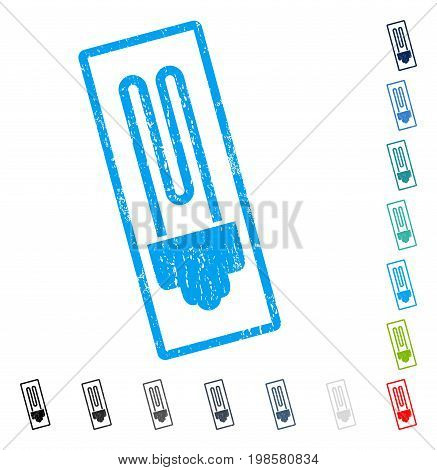 Fluorescent Bulb rubber watermark in some color versions.. Vector icon symbol inside rounded rectangle with grunge design and unclean texture. Stamp seal illustration, unclean sticker.