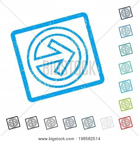 Import rubber watermark in some color versions.. Vector icon symbol inside rounded rectangular frame with grunge design and dust texture. Stamp seal illustration, unclean emblem.