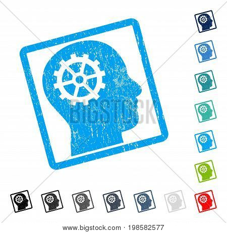 Intellect rubber watermark in some color versions.. Vector icon symbol inside rounded rectangle with grunge design and scratched texture. Stamp seal illustration, unclean sticker.