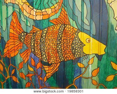 Colourful ocean mural. poster
