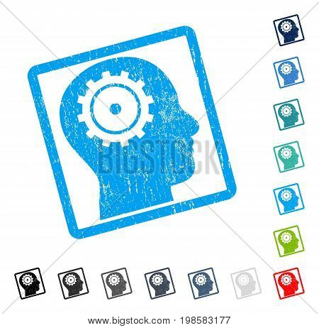 Intellect rubber watermark in some color versions.. Vector icon symbol inside rounded rectangle with grunge design and unclean texture. Stamp seal illustration, unclean sign.