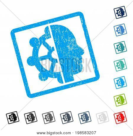 Intellect rubber watermark in some color versions.. Vector pictogram symbol inside rounded rectangle with grunge design and dirty texture. Stamp seal illustration, unclean sticker.