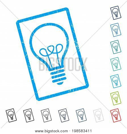 Lamp Bulb rubber watermark in some color versions.. Vector icon symbol inside rounded rectangular frame with grunge design and dust texture. Stamp seal illustration, unclean sticker.
