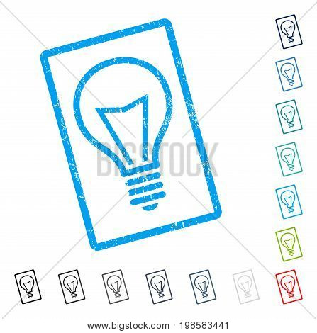 Lamp Bulb rubber watermark in some color versions.. Vector icon symbol inside rounded rectangular frame with grunge design and dirty texture. Stamp seal illustration, unclean emblem.
