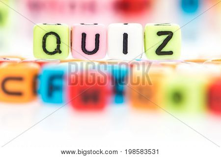 the colorful alphabet word cube of QUIZ