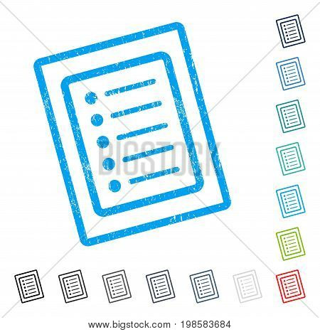 List Page rubber watermark in some color versions.. Vector icon symbol inside rounded rectangle with grunge design and dirty texture. Stamp seal illustration, unclean sticker.