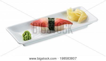 Sushi with shellfish.Isolated on the white background