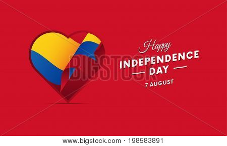 Colombia Independence Day. 7 august. Waving flag in heart. Vector illustration.