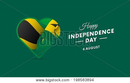 Jamaica Independence Day. 6 august. Waving flag in heart. Vector illustration.