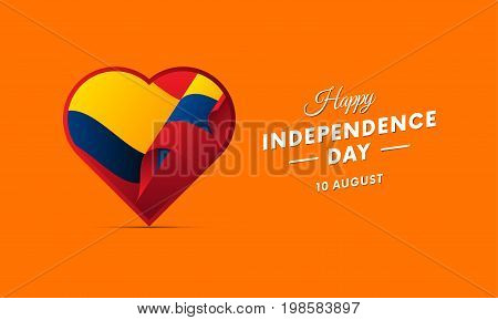 Ecuador Independence Day. 10 august. Waving flag in heart. Vector illustration.