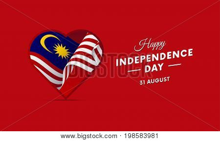 Malaysia Independence Day. 31 august. Waving flag in heart. Vector illustration.
