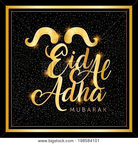 islamic festival of sacrifice, eid-al-adha mubarak greeting card vector illustration