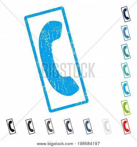 Phone Receiver rubber watermark in some color versions.. Vector pictogram symbol inside rounded rectangle with grunge design and dust texture. Stamp seal illustration, unclean sign.