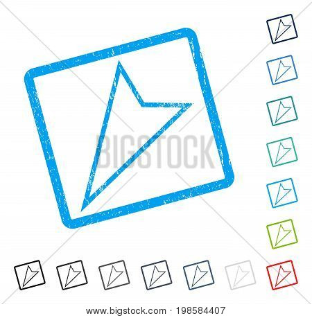 Pointer Left Down rubber watermark in some color versions.. Vector pictogram symbol inside rounded rectangular frame with grunge design and dust texture. Stamp seal illustration, unclean sign.