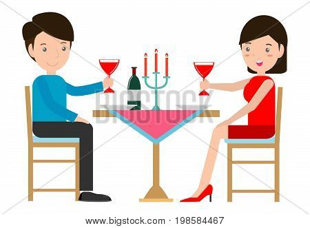 Couple having  romantic dinner by candlelight, Couple having dinner in a restaurant, man and woman sitting at the table on white background. Vector illustration