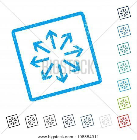 Radial Arrows rubber watermark in some color versions.. Vector pictogram symbol inside rounded rectangular frame with grunge design and unclean texture. Stamp seal illustration, unclean emblem.