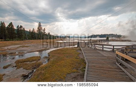 Boardwalk Next To Tangled Creek And Black Warrior Springs Leading Into Hot Lake In The Lower Geyser