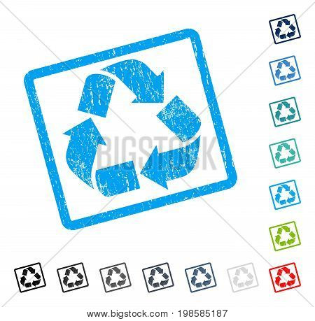 Recycle rubber watermark in some color versions.. Vector icon symbol inside rounded rectangular frame with grunge design and dust texture. Stamp seal illustration, unclean emblem.