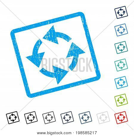 Recycle rubber watermark in some color versions.. Vector icon symbol inside rounded rectangle with grunge design and dirty texture. Stamp seal illustration, unclean sticker.