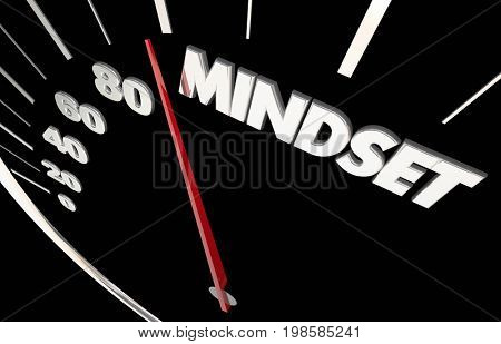Mindset Attitude Vision Passion Speedometer Measure Results 3d Illustration