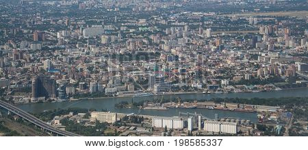 Rostov on Don, big russian city, top view from sky