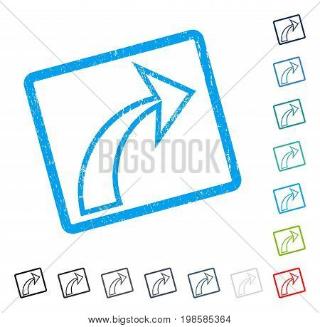 Redo rubber watermark in some color versions.. Vector icon symbol inside rounded rectangular frame with grunge design and scratched texture. Stamp seal illustration, unclean sticker.