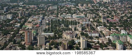 Rostov on Don, Buildings view from airplane, cityscape