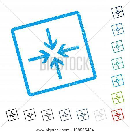 Reduce Arrows rubber watermark in some color versions.. Vector icon symbol inside rounded rectangle with grunge design and unclean texture. Stamp seal illustration, unclean sticker.