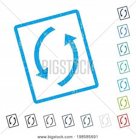 Refresh rubber watermark in some color versions.. Vector icon symbol inside rounded rectangle with grunge design and dust texture. Stamp seal illustration, unclean sign.
