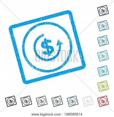 Refund rubber watermark in some color versions.. Vector icon symbol inside rounded rectangle with grunge design and dirty texture. Stamp seal illustration, unclean emblem.