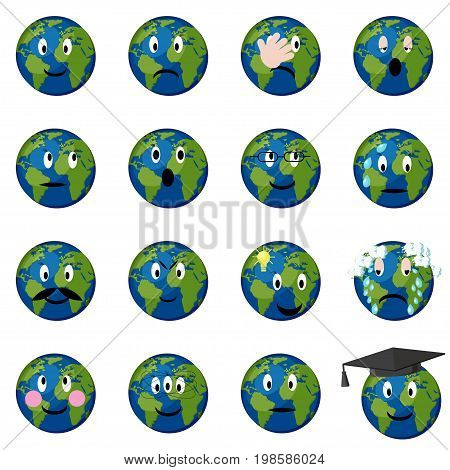 Planet earth emoticons, emoji, smiley, set. Globe with cartoon face expressions. Vector illustration in flat style isolated on white background.