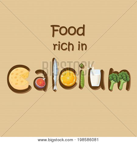 Food rich in mineral Calcium. Cheese, figs, sardines, oranges, green peas, milk and broccoli forming the word Calcium.  Natural sources of Ca. Healthy eating. Pregnancy diet. Vector illustration.