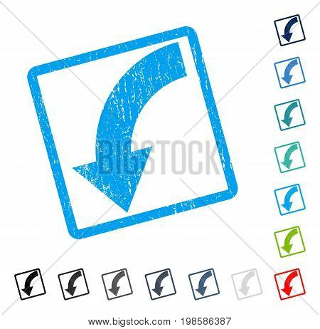 Rotate Down rubber watermark in some color versions.. Vector pictogram symbol inside rounded rectangular frame with grunge design and dust texture. Stamp seal illustration, unclean sign.