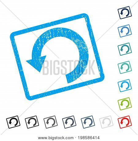 Rotate Down rubber watermark in some color versions.. Vector icon symbol inside rounded rectangle with grunge design and scratched texture. Stamp seal illustration, unclean sticker.