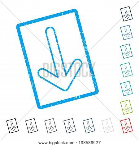 Rounded Arrow Down rubber watermark in some color versions.. Vector pictogram symbol inside rounded rectangular frame with grunge design and dirty texture. Stamp seal illustration, unclean sticker.