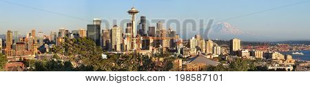 Seattle skyline panorama at sunset as viewed from Kerry Park in Seattle Washington state