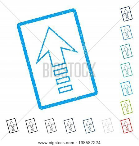 Send Up rubber watermark in some color versions.. Vector icon symbol inside rounded rectangle with grunge design and unclean texture. Stamp seal illustration, unclean sign.