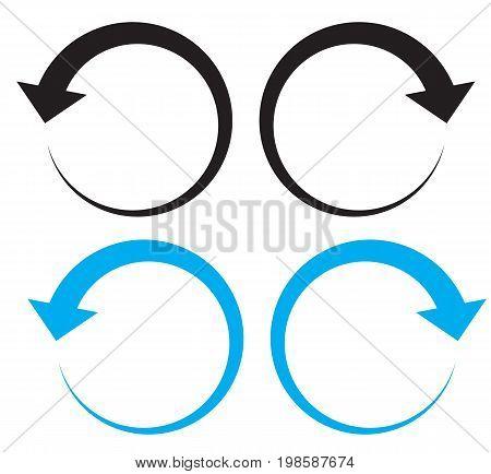 undo arrow icon on white background. redo arrow icon on white background. direction arrow symbol.